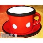 Zománcozott kávéscsésze tányérkával KP – 2/1 – KC