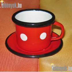 Zománcozott kávéscsésze tányérkával