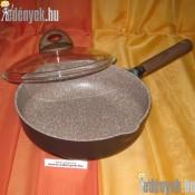 Indukciós nyeles mély serpenyő üvegfedővel gránit bevonattal 24 cm-es AMB 341914