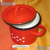 Zománcozott piros pöttyös fazék fedővel 1 literes 770/120-BB