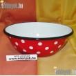 Piros pöttyös zománcozott müzlis tál 16 cm 068/547-BLX